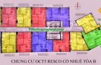 Chính chủ cần bán CH 08 tầng 10 Tòa B Chung cư OCT5 Resco Cổ Nhuế DT 64,5m2. Giá 18tr/m2(Full nội thất).