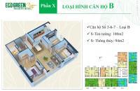 24 tr/m2, căn 03 tòa CT4 chung cư Eco Green City: dt 100 m2 – thông thủy 95,1 m2. 3PN, cửa Tây Nam