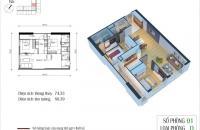Cần bán căn 15.01 chung cư Eco Green TÒa CT4, DT 74.33m2