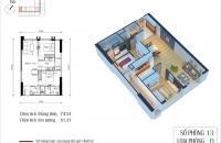Bán CHCC cao cấp số 13 tòa CT4 Eco Green City căn góc DT 74.54m2/2PN/2WC