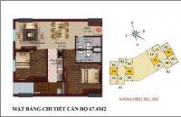 Bán căn số 12 tầng 12 chung cư B1 B2 Tây Nam Linh Đàm, 67,4m2, 2 phòng ngủ đẹp, hướng Nam