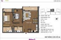 Bán gấp do không hợp hướng căn 2 phòng ngủ, 74.6m2, CC Hong Kong Tower. 0989704285