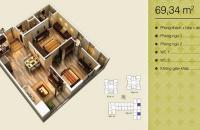 Bán gấp chung cư 1208 tòa V3 Home City Trung Kính, DT: 69.34m2, giá rẻ, liên hệ: 0941244723