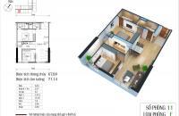 Bán gấp căn hộ chung cư Eco Green city, căn 11 tòa CT4, dt 67,09m2, 2pn, giá 25tr/m2