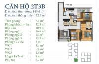 Bán CH 02 tòa N03-T3&T4 Ngoại Giao Đoàn, Bắc Từ Liêm, Hà Nội. Diện tích 132m2, giá 32tr/m2