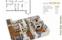 Bán căn 102m2 chung cư Five Star Kim Giang căn 12 tòa G2, view hồ, 3PN, giá: 24 tr/m2