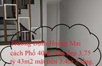 Trương Định-Hoàng Mai 3.75 tỷ cách phố 40m 43m2 mặt tiền 3.4m xây 5 tầng. Mr.Minh