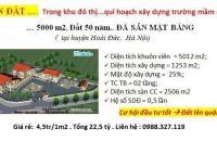 22,5 tỷ chuyển nhượng quĩ đất dự án trường mầm non cho 5000 m2 đất sổ đỏ 50 năm tại Hoài Đức, Hà ...